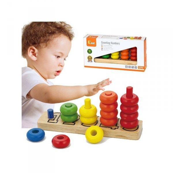 Nauka Liczenia i Kolorów Edukacyjna Piramidka - Viga Toys