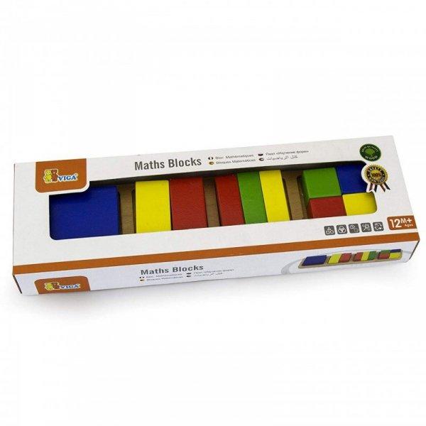 Drewniana Układanka Klocki Matematyczne Ułamki 11 Elementów - Viga Toys