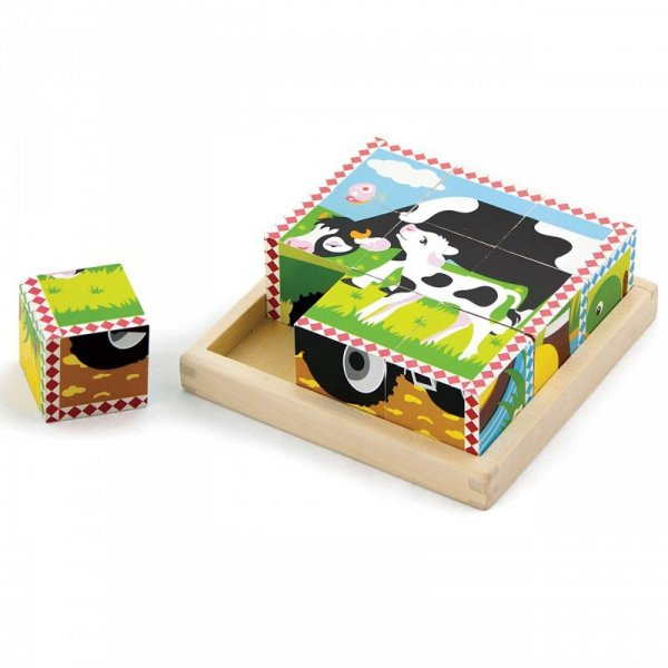 Układanka Drewniana Puzzle - 6 Klocków 6 Obrazków Farma - Viga Toys