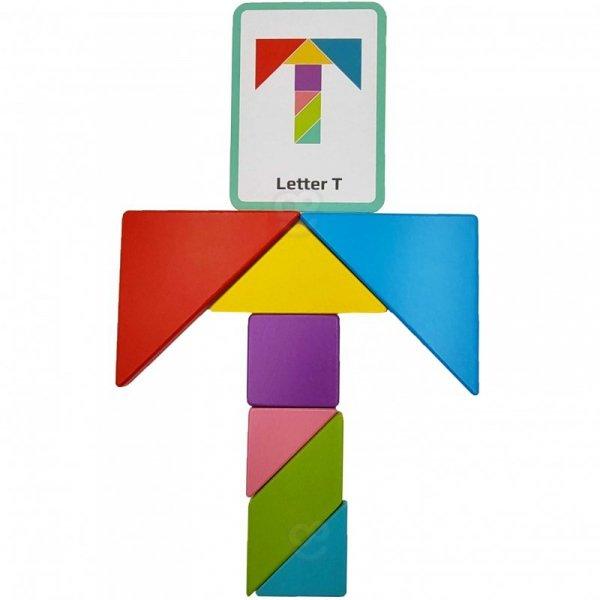 Drewniane Puzzle Tangram Układanka Magnetyczna - TOOKY TOY