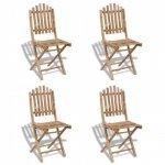 Składane krzesła ogrodowe, 4 szt., bambusowe