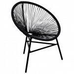 Okrągłe krzesło ogrodowe, polirattan, czarne