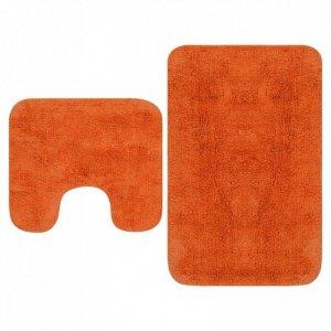2-częściowy zestaw mat łazienkowych, tkanina, pomarańcz
