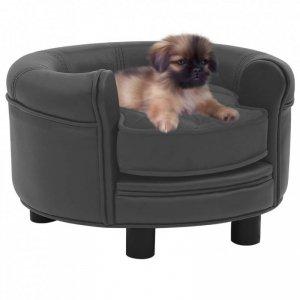 Sofa dla psa, ciemnoszara, 48x48x32 cm, plusz i sztuczna skóra