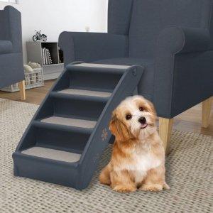 Składane, 4-stopniowe schodki dla psa, ciemnoszare