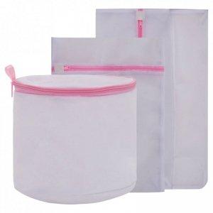Zestaw 3 worków do prania z siateczki, biało-różowe