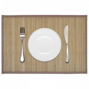 6 Bambusowych brązowych podkładek pod talerze 30 x 45 cm