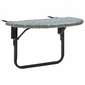 Stolik balkonowy, szary, 60x60x50 cm, rattan PE