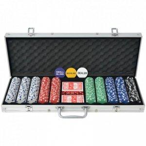 Zestaw do gry w pokera 500 żetonów, aluminium