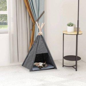 Namiot tipi dla kota, z torbą, filcowy, czarny, 40x40x70 cm