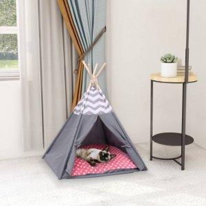Namiot tipi dla kota, z torbą, peach skin, szary, 60x60x70 cm