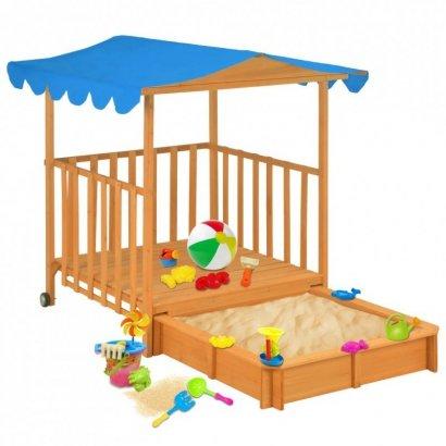Domek z piaskownicą, drewno jodłowe, niebieski, UV50