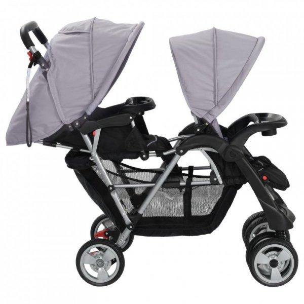 Wózek spacerowy dla bliźniąt, tandem szaro-czarny