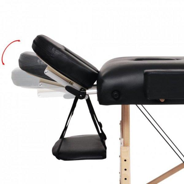 Składany stół do masażu, dwuczęściowy, grubość 10 cm, czarny