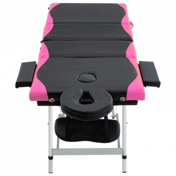 4-strefowy, składany stół do masażu, aluminium, czarno-różowy