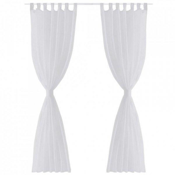 Zasłona na szelkach, prześwitująca, biała, 140 x 175 cm, 2 sztuki