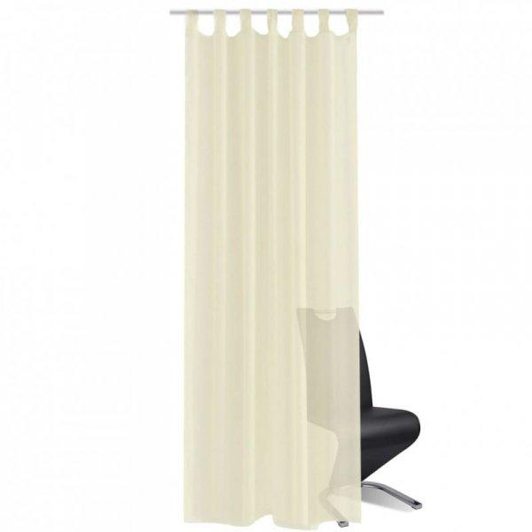 Zasłona na szelkach, prześwitująca, kremowa 140 x 245 cm, 2 sztuki