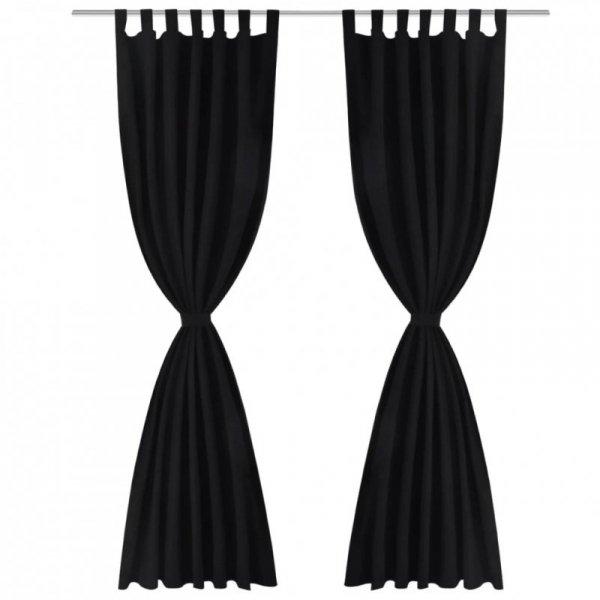 Czarne atłasowe zasłony z pętelkami 2 szt. 140 x 175 cm