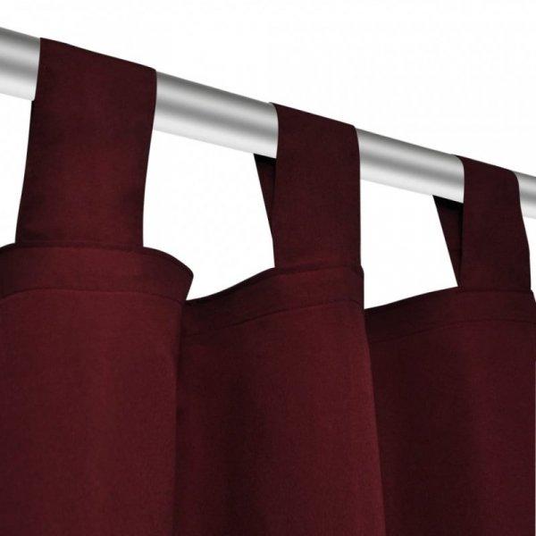 Bordowe atłasowe zasłony z pętelkami 2 szt. 140 x 245 cm