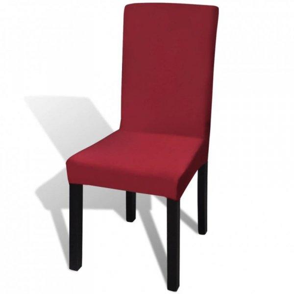 Elastyczne pokrowce na krzesła, bordowe, 6 sztuk