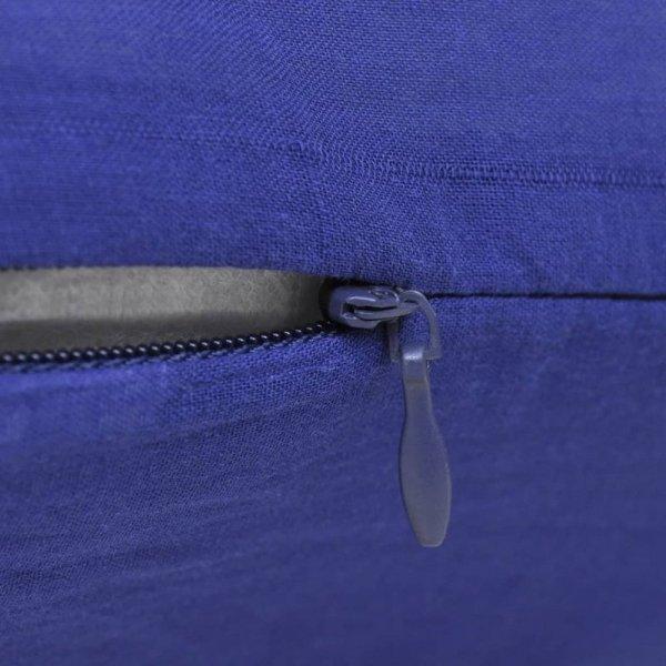 4 Niebieskie bawełniane poszewki na poduszki 50 x 50 cm