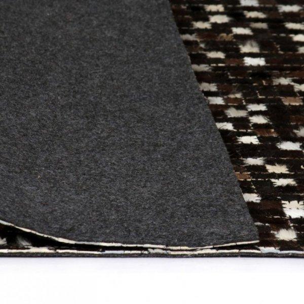 Patchworkowy dywan ze skóry bydlęcej, 80x150 cm, czarno-biały