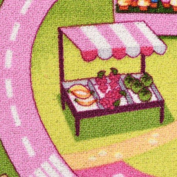 Dywanik do zabawy, wzór cukierkowe miasto, 100x165 cm