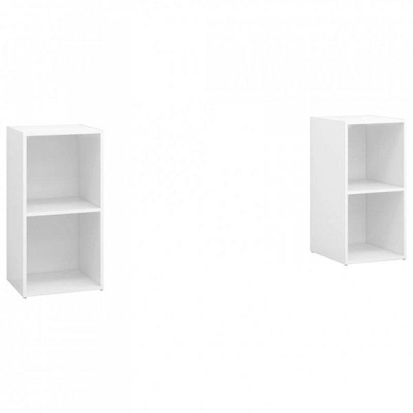Szafki TV, 2 szt., białe, wysoki połysk, 72x35x36,5 cm, płyta