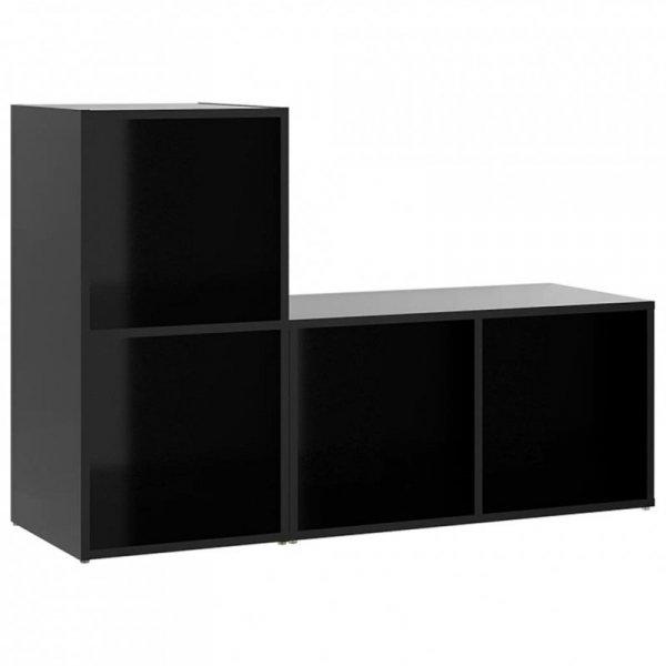 Szafki TV, 2 szt., czarne, 72x35x36,5 cm, płyta wiórowa
