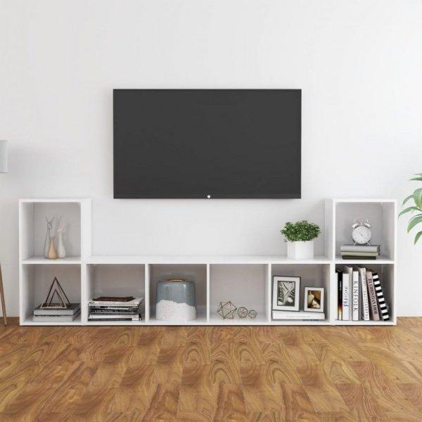 3-cz. zestaw szafek TV, wysoki połysk, biały, płyta wiórowa
