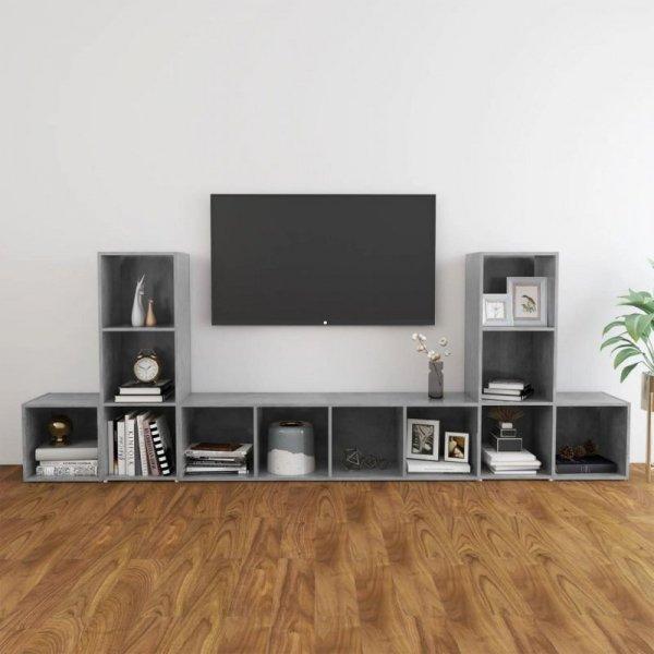 5-cz. zestaw szafek TV, szarość betonu, płyta wiórowa