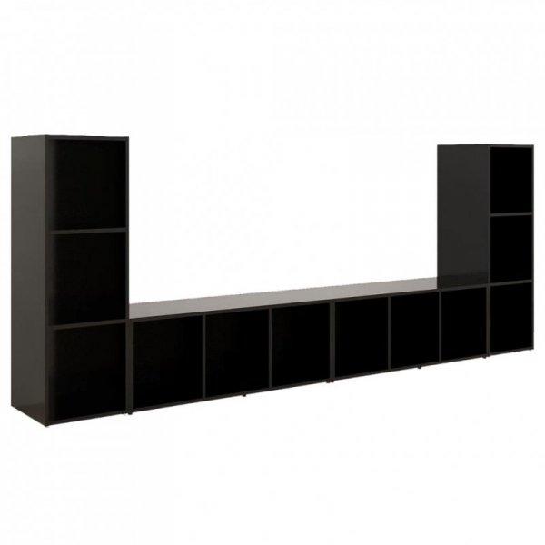 Szafki TV, 4 szt., czarne, 107x35x37 cm, płyta wiórowa