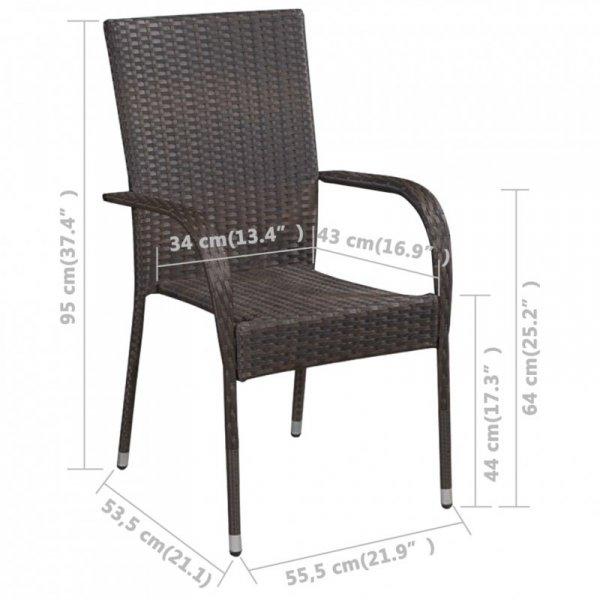 Sztaplowane krzesła ogrodowe, 6 szt., polirattan, brązowe