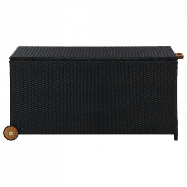 Skrzynia ogrodowa, czarna, 120x65x61 cm, rattan PE