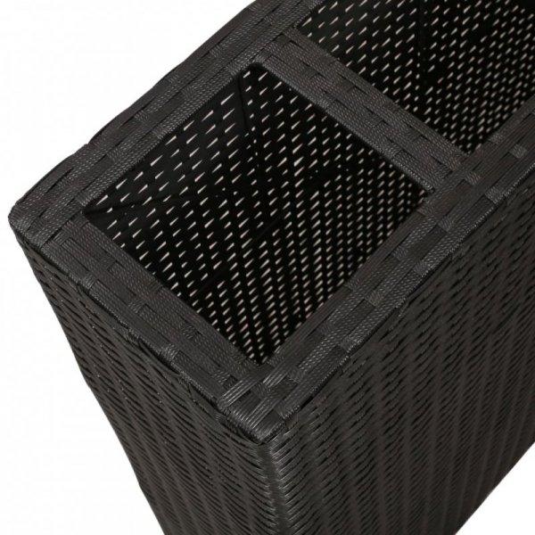 Podwyższone donice z 4 wkładami, polirattan, czarne