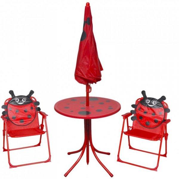 3-cz. dziecięcy zestaw mebli do ogrodu, z parasolem, czerwony