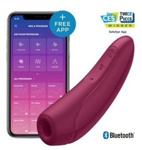 Wibrator łechtaczki - Satisfayer Curvy 1+ Rose Red incl. Bluetooth and App