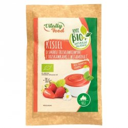 Kisiel o smaku truskawkowym z truskawkami i witaminą C bez dodatku cukru Vitally Food BIO, 38g