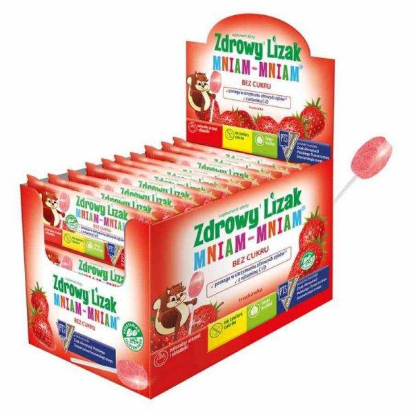 Zdrowy Lizak Mniam-Mniam o smaku truskawkowym Starpharma, 6g (płaski)