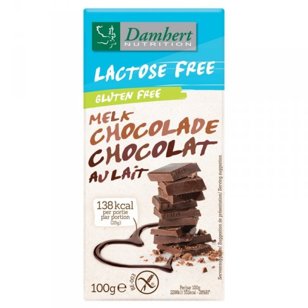 Czekolada mleczna b/laktozy i b/glutenu Damhert, 100g