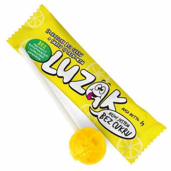 Luzak lizak bez cukru o smaku cytrynowym, 8g