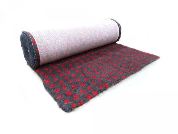 CANIFEL DryBed Posłanie (75x50) Small Paw Grafitowo Czerwony