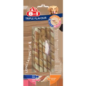 8in1 Przysmak 8in1 Triple Flavour Twisted Sticks [T144601] 10 szt.