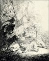 The Small Lion Hunt (with Two Lions), Rembrandt - plakat