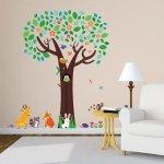 Naklejki Duże drzewo ze zwierzętami