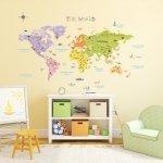 Duża Naklejki  Kolorowa Mapa Świata
