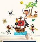 Naklejki Wyspa i okręt piratów