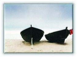 Łodzie na plaży - Obraz na płótnie