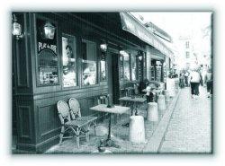 Paryż Montmartre. Kawiarnia. - Obraz na płótnie
