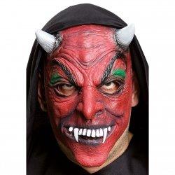 Maska czerwona twarz diabła z rogami